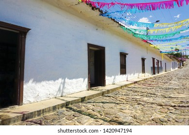 Colorful Colonial cobblestone street with old houses in Guane, Colombia
