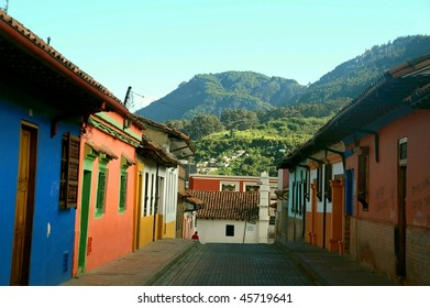 Colorful colonial houses in Candelaria neighborhood Cartagena Colombia