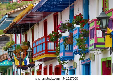 colorful colonial style balconies in Salento Colombia