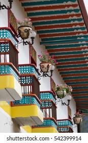 colorful colonial wooden balconies in El Jardin Colombia