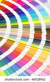 Colorful color guide chart with lots of different color swatches used by the printing press.