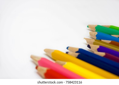 colorful of color pencil isolated on white with copy space