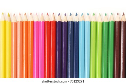 colorful color pencils isolated on white