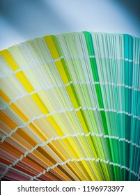 Colorful color sampler on white background.