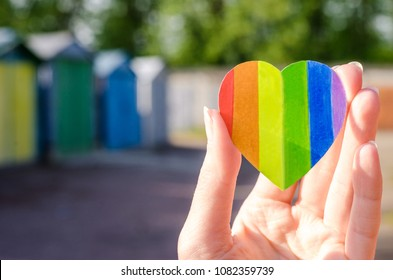 Colorful Colored Heart Concept LGBT Rights Lesbian Gay Bisexual Transgender on bright Bakground. Rainbow symbol.
