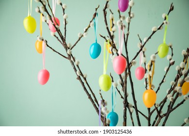 Colorful colourful Easter egg decoration on twigs with Catkin pussy willow on pastel green background