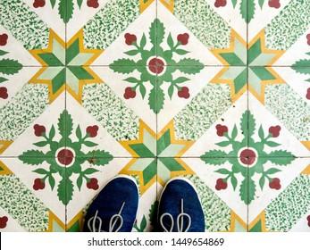 Colorful colourful traditional painted tiles at a Peranakan Baba Nyonya house in Singapore or Penang