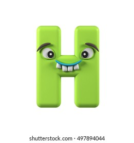 Colorful Comic alphabet character. Letter H isolated on white background. 3d rendering