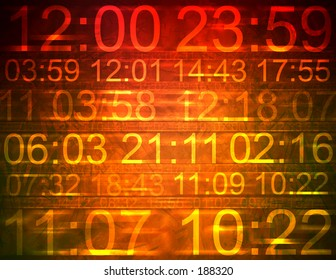 Colorful computer illustration indicating different times.