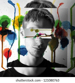 A colorful concept image of a guy with lots of water colors splashing and melting down on the walls around him.