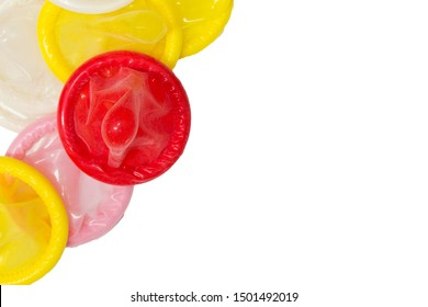 Colorful condom isolated on white background, Realistic condom on the left isolated on white background, Having safe sex for Valentine's Day.