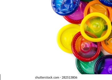 Colorful condom on white background