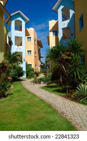 Colorful condominiums in Dominican Republic