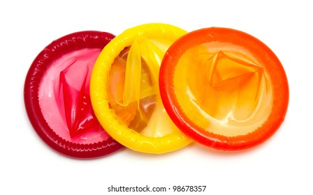 colorful condoms isolated on white background