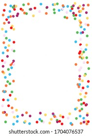 Colorful confetti frame. Color dots in the boder. Framework with white background.