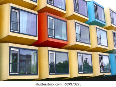 Colorful container houses in Dutch apartment flat for students, starters and immigrants, Netherlands
