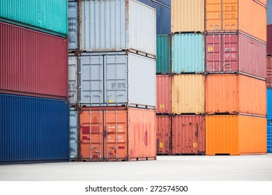 colorful container stacking in depot, modern logistics background
