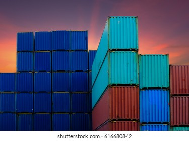 Colorful containers for import and export business Sunset background