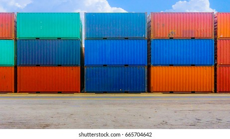 the colorful containers shipping on the street.