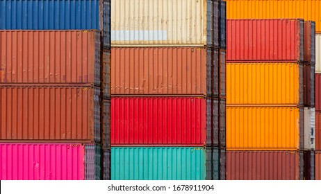 Colorful containers stacked in the harbor.