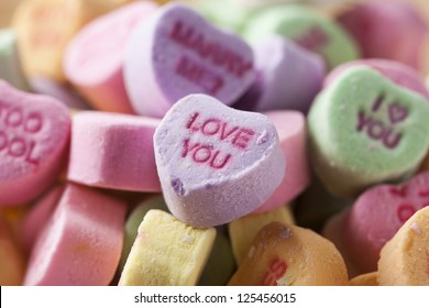 Colorful Conversation Hearts Candy for Valentines Day
