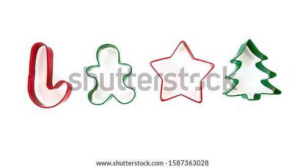 colorful cookie cutters isolated on white backrgound