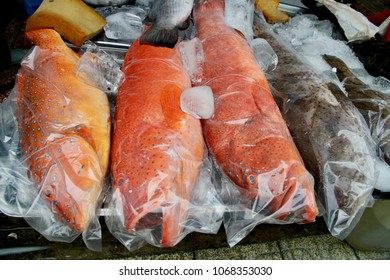 Colorful coral trout on display in a produce market in Vietnam.