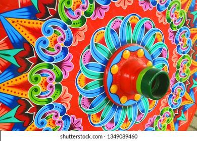 Colorful Costarican traditional wagon wheel