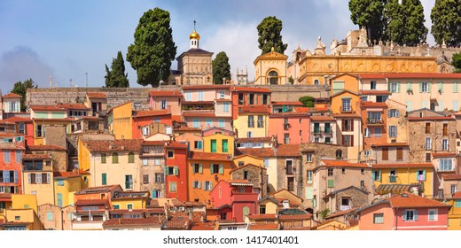 Colorful cosy houses and old cemetery of Menton at the top of the Colla Rogna hill above the old town, Menton, perle de la France, French Riviera, France