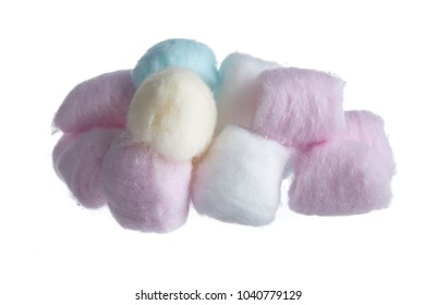 Colorful cotton balls isolated on white background