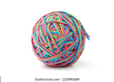 Colorful cotton big thread ball from four color thread isolated on white background. Different color pink, green, grey, blue thread mix.