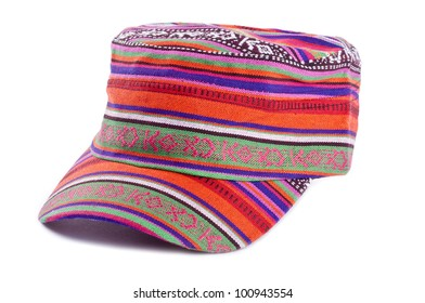 Colorful Cotton Hat Isolated on White