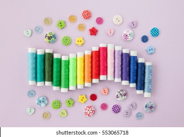 Colorful cotton yarns on rolls for sewing