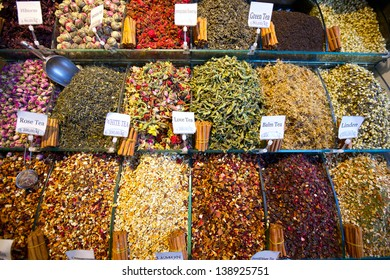 Colorful counter with tea at Istanbul Spice market
