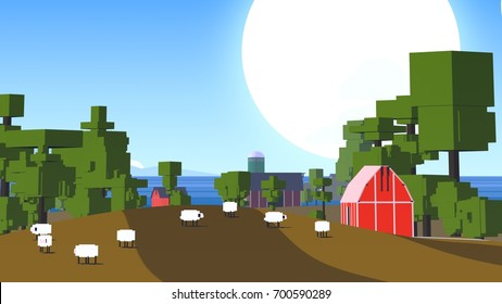 Colorful countryside. Pixel cartoon style.