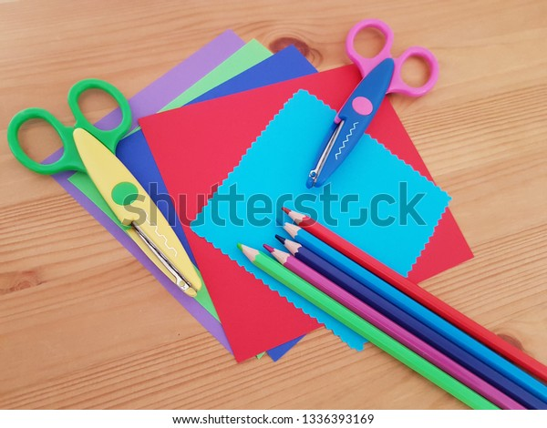 Colorful Craft Paper Colored Pencils Laying Stock Photo
