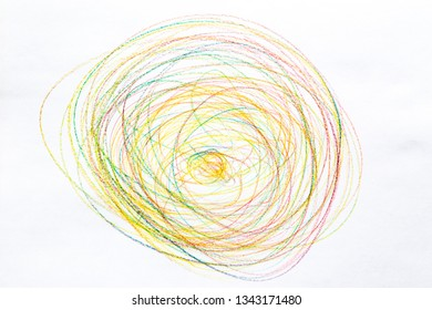 colorful crayon circles on paper drawing background texture