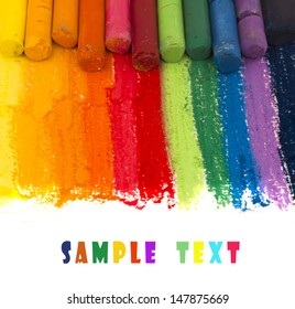 colorful crayons background with place for the text