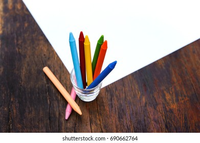 Colorful  Crayons with close-up.Use drawing for beautiful art.