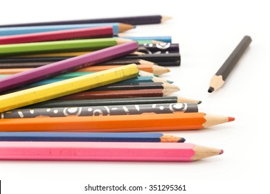 Colorful crayons on a white background.