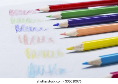 Colorful crayons sketching