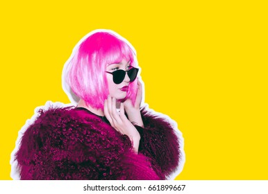 Colorful crazy beautiful hot rock Girl in Acid bright pink wig and sunglasses in lama leather swag style red fur winter coat. Dangerous rocky emotional woman.