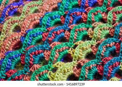 Colorful Crocheted Yarn Blanket Texture