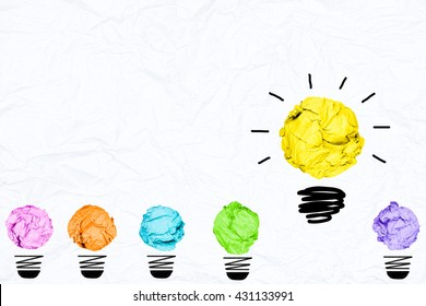 colorful crumpled paper light bulb with white background creative inspiration concept metaphor for think different idea /another direction / think other way