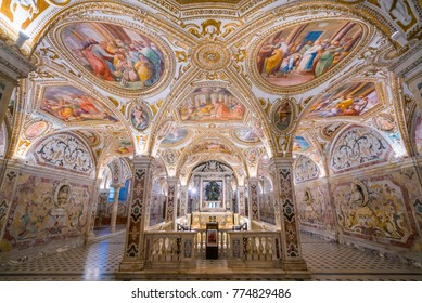 The colorful Crypt in the Duomo of Salerno, Campania, Italy. Septermber-15-2017