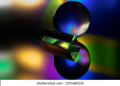 colorful crystal reflections and refractions