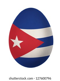 Colorful Cuba flag Easter egg isolated on white background