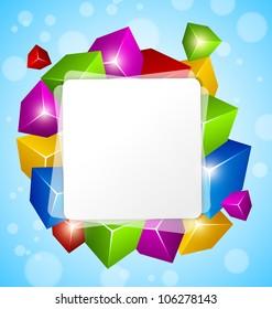 Colorful Cube Design on blue background - RASTER VERSION
