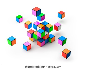 Colorful cubes isolated on white background - 3D Rendering