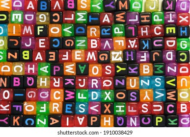 colorful cubes with letters, background